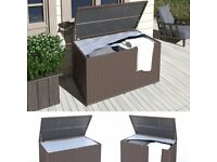 XXL Rattan Garden Storage Box Chest Trunk Cushion Shed Lid Outdoor 950L delivery/postage available