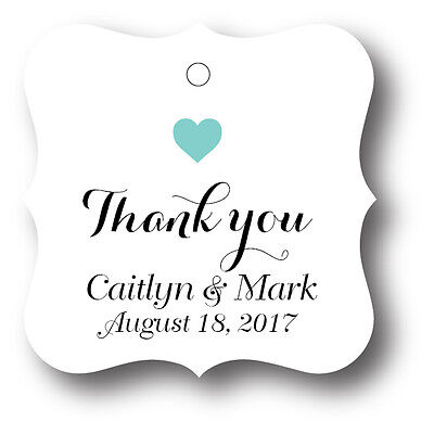72 Thank You Personalized Wedding Favor Tag, Gift Tags, Bridal Shower Favor -