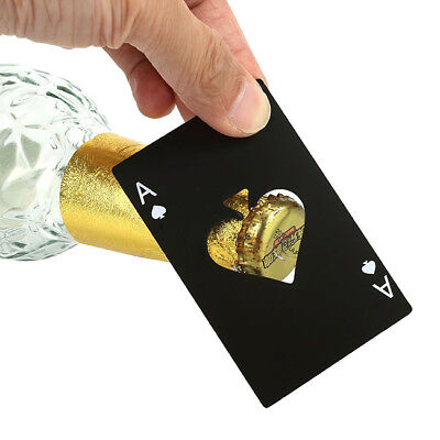 Ace Of Spade Card Steel Beer Drink Bottle Opener Black Bar Tool Fit in Wallet