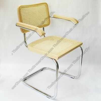 Marcel Breuer Cesca Cane Arm Chair In Natural With Chrome Finish Made In Italy