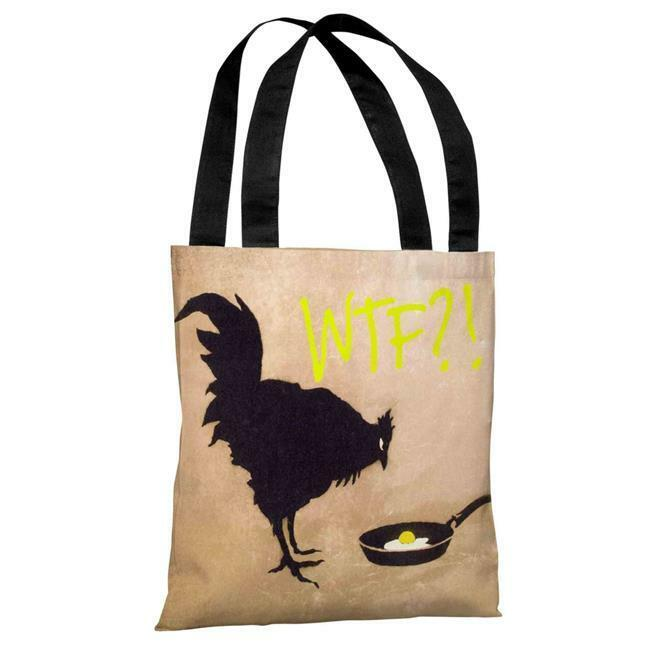 One Bella Casa 72190TT18P 18 in. Chicken & Egg WTF Polyester Tote Bag by Banksy