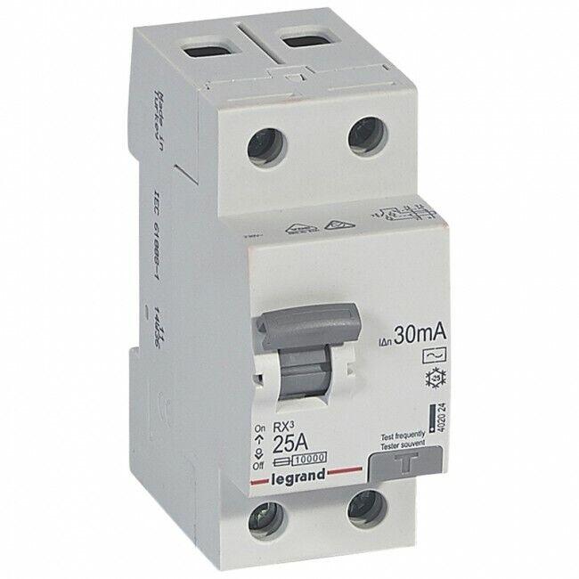 New Legrand Tenby 25Amp 30mA 2P 230v RCD 4020 24 Circuit Breaker RX3