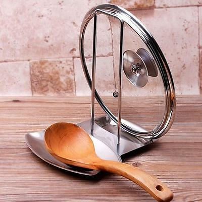 - Stainless Steel Pan Stand Pot Cover Rack Lid Spoon Rest Holder Kitchen Tool New