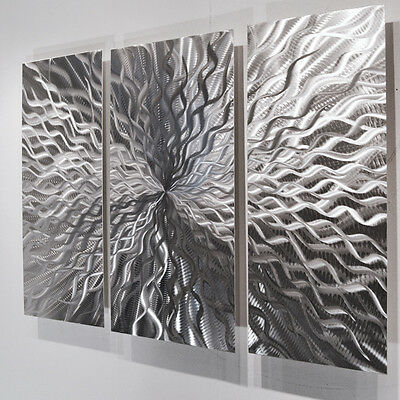 Modern Abstract Metal Wall Sculpture Art Contemporary Painting Home Decor Silver