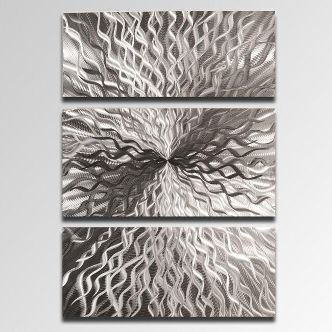 Contemporary Silver Wall Decor : Modern abstract metal wall sculpture art contemporary