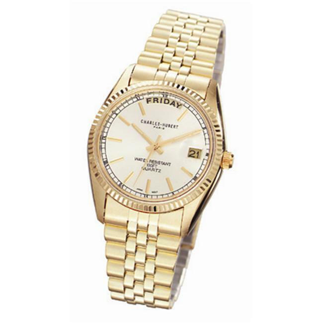Charles-Hubert- Paris Mens Gold-Plated Quartz Watch #3400-OY