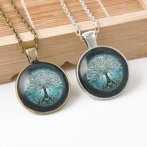 Vintage-Antique-Bronze-Silver-Tree-of-Life-Photo-Glass-Dome-Pendant-Necklace