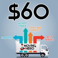 ♢♢♤ 2 MOVERS + 16FT. TRUCK  FOR ONLY $60/HR ♢♢♤