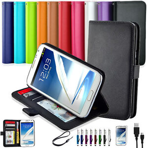 NEW Premium Leather Stand Wallet Flip Case Cover Samsung Galaxy Note II 2 N7100