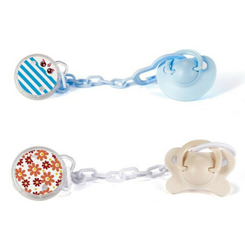 Buff Floral Pacifier Clip Holder Anti-Lost for Baby Girls Infant Soother Chain Strap