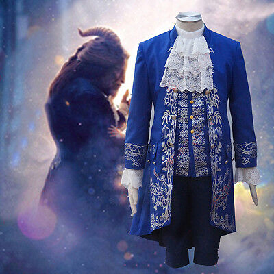 US! Beauty and the Beast Halloween Cosplay Costume Adult Men Outfit Coat Vest (Halloween Outfits For Men)