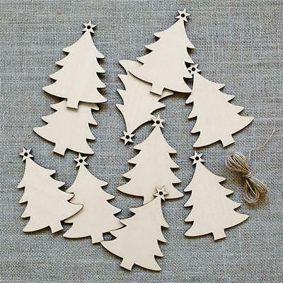 Christmas Snowflakes Tree Wooden Decorations Craft Hanging Bauble Blank Tag CO ()
