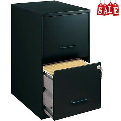 Modern 2 Drawer Metal Filing Cabinet In Black With Lock Office Furniture Storage