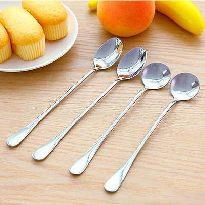 Stainless Steel Coffee Spoon Long Handle Metal Spoons Dessert Scoop W ()
