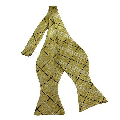 Men's Bow Tie, Self-Tie, Adjustable, Black, White & Honey Gold