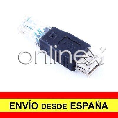 Adaptador USB Hembra a LAN RJ45 Macho Conversor Convertidor Cable de Red...