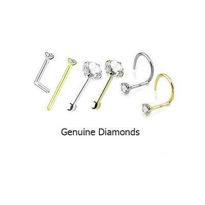 1.5mm Genuine Real Diamond Nose Ring Stud L Bend Screw Yellow Gold White Gold