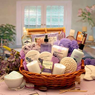 Essence Of Lavender Luxury Spa Gift Basket With Candles