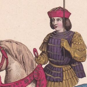Charles VII Roi France Valois Costume Militaire Armure Armagnacs & Bourguignons - France - Charles VII En Costume Militaire Gravure exécutée par Massard Planche : Dimensions 14 x 23 cm ; Gravure : 10 x 15 cm Infimes rousseurs, auréole lisire gauche Gravure du XIXe Sicle Charles VII le victorieux ou le bien servi 1403 - 1461 Fils de  - France