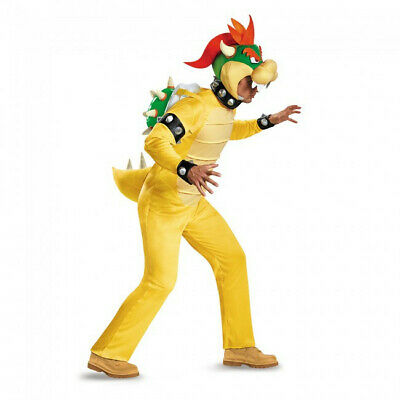 Bowser Deluxe Adult Costume Super Mario's Bros Jumpsuit Headpiece Nintendo](Mario Bros Bowser Costume)