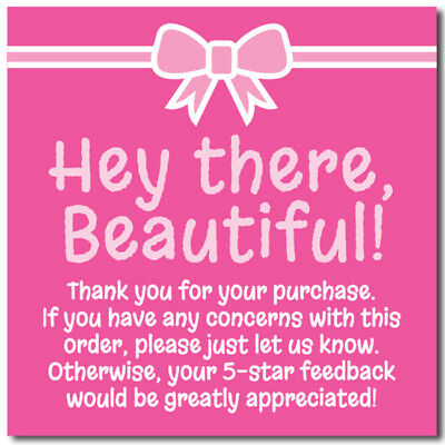 Thank You 5-star Feedback Shipping Labels Stickers Pink White 25-1000 2x2