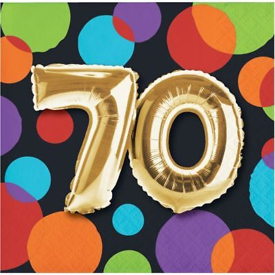 Gold Balloon 70th Birthday Beverage Napkins 70th Birthday Party Decoration
