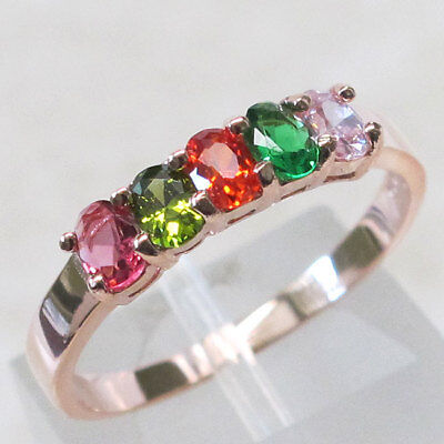(COOL MULTI STONE 925 STERLING SILVER ROSE GOLD TONE RING SIZE 5-10)