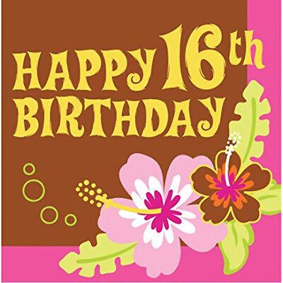 Aloha Sweet 16th Birthday Happy 16th Birthday 3-Ply Lunch Napkins (16 pack)