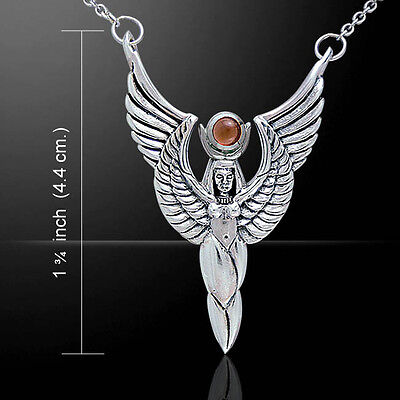 Oberon Zell Egyptian Winged Isis Goddess Sterling Silver Necklace Peter Stone (Goddess Carnelian Necklace)