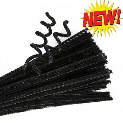 Black Pipe Cleaners Chenille Halloween Craft Stems Arts Crafts 100 x 6