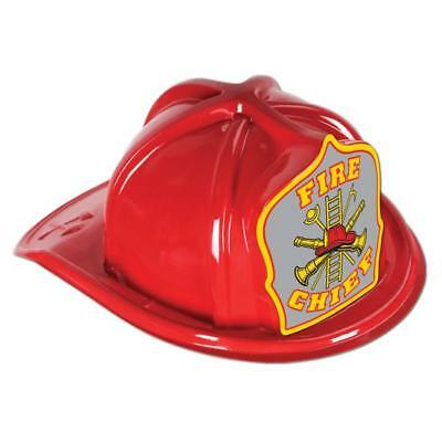 Fire Chief Plastic Hat Red Child Size Firefighter Birthday Party Favors](Firefighter Party Hats)