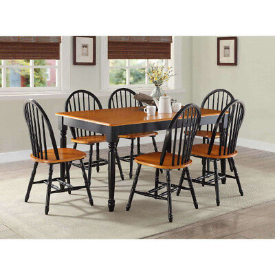 7 Piece Dining Set Table and 6 Chairs Country Farmhouse Black Oak Solid Wood ()