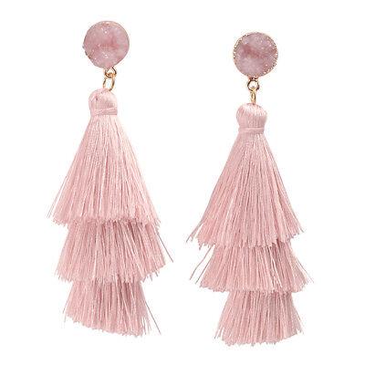 Pair Women Bohemian Tiered Tassel Layered Tassel Stud Dangle Earrings -