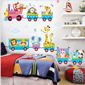 Kids Animal Circus Train Wall Decal Stickers Nursery Baby Boy Room Decor W