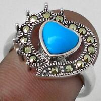 HEART SHAPED BLUE TURQUOISE - MARCASITE ACCENTS  925 RING Sz 6