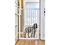 *New* Extra Tall Pet Gate 75-82cm Pressure Fit - White 110cm High Plus *New* Wall Protector Kit