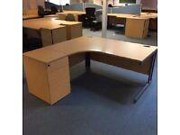 Lexus Curved Beech Office Desk & Matching Pedestal / Cantilever Legs