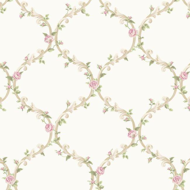 Wallpaper Cottage White and Cream Elegant Pink Rose