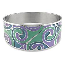 "Amour Stainless Steel Colored Epoxy Purple Aqua & Blue Bangle Bracelet 8"""