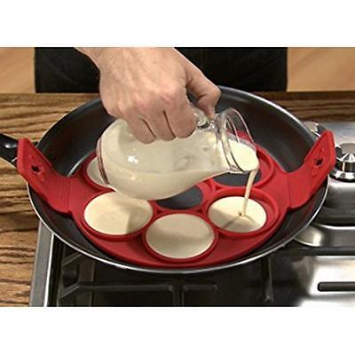 Silicone Non Stick Flipper Pancake Pan Breakfast Maker Egg Omelette Tool D