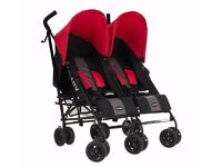 Obaby Apollo Black/ Grey Twin double Pushchair red