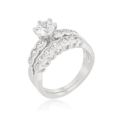 2 TCW Round Bezel CZ Cubic Zirconia Graduated Bridal Wedding Ring Set Size (Bezel Set Cubic Zirconia Ring)