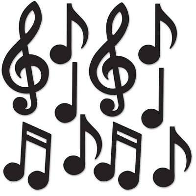 Musical Notes Decorations (Mini Musical Notes Silhouette Cutouts 10 Pack Music Dance 1950s Party)