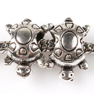 30PCS-150958-SILVER-TONE-TURTLE-CHARMS-SPACER-BEADS-FIT-BRACELETS