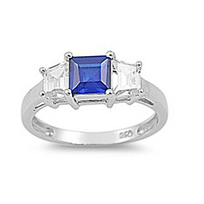 CUSHION CUT BLUE SAPPHIRE & CZ 3 STONE RING .925 STERLING SILVER Sizes 5-9