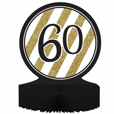 Black and Gold 60th Birthday Honeycomb Centerpiece 60 Birthday Party Decoration](Gold And Black Centerpieces)