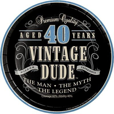 Vintage Dude 40th Birthday 7 Inch Paper Plates The Man Myth Legend Decoration - Vintage 40th Birthday Decorations