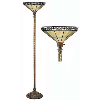 SOPHISTICATED Tiffany-style Mission-style Off Yellow Torchiere FLOOR LAMP