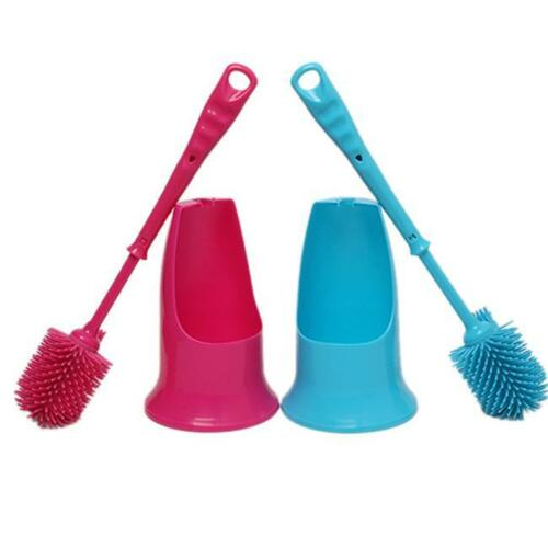 New Toilet Brush Double Head Cleaning Brush Holder Cleaning Inwall Groove Dirt W