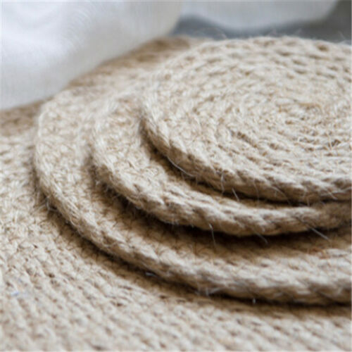 Round Natual Straw Placemats Water Weave Rattan Drinks Mat F